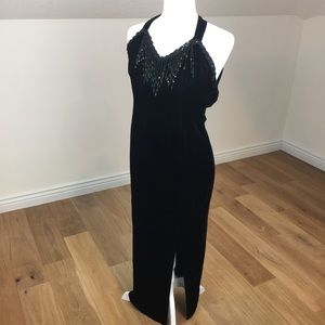 Vintage 90's Velvet Prom Dress Black Sz 0